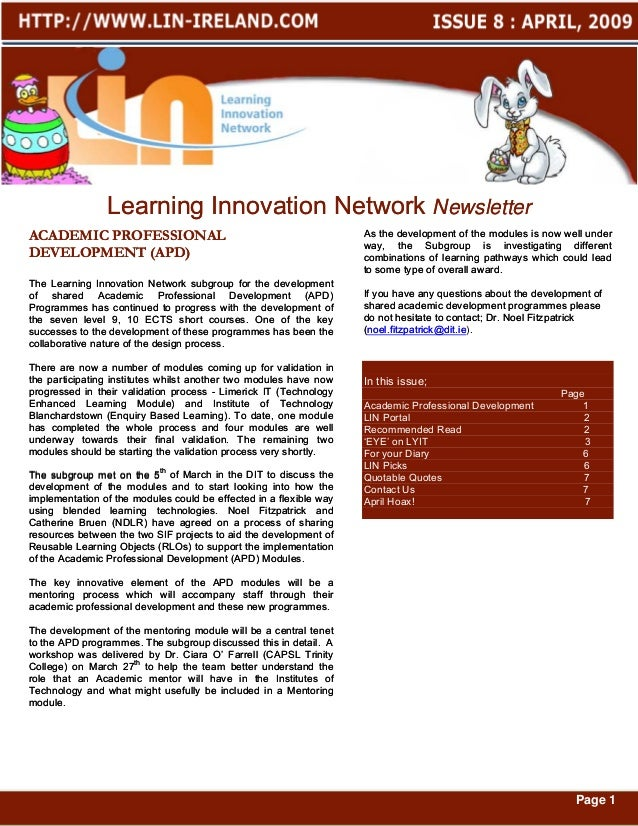 Learning Innovation Network NewsletterACADEMIC PROFESSIONAL                                               As the developme...