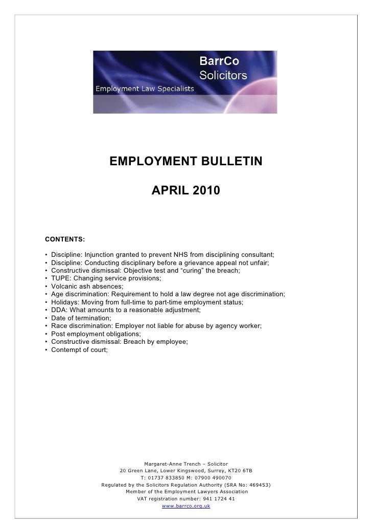 EMPLOYMENT BULLETIN                                         APRIL 2010   CONTENTS:  •   Discipline: Injunction granted to ...
