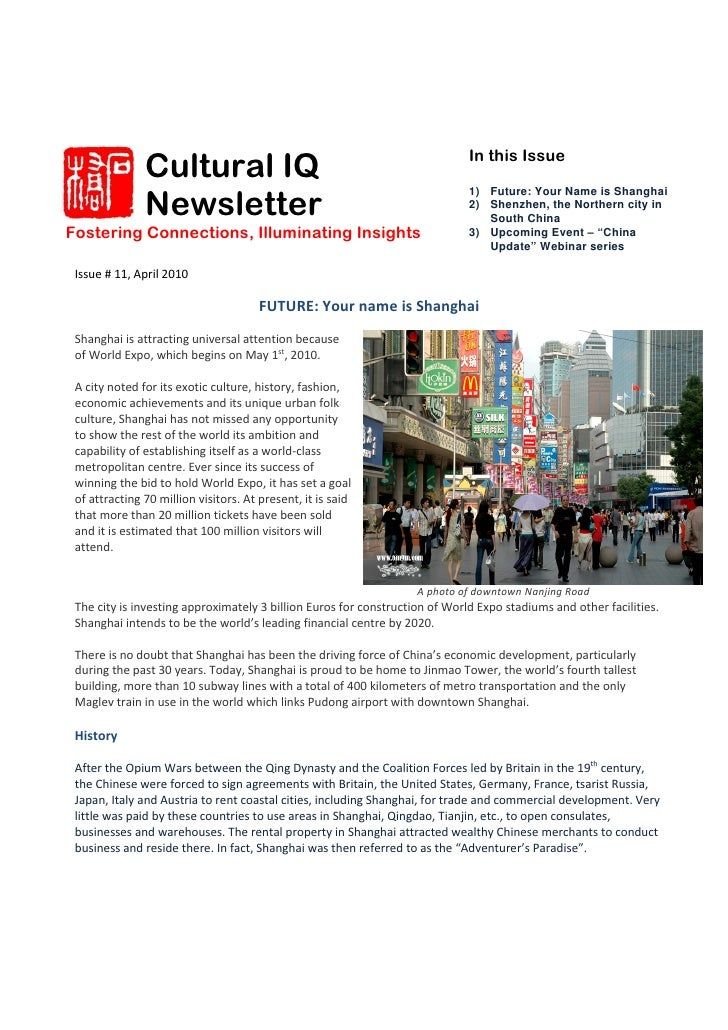 Cultural IQ                                                   In this Issue                  Newsletter                   ...