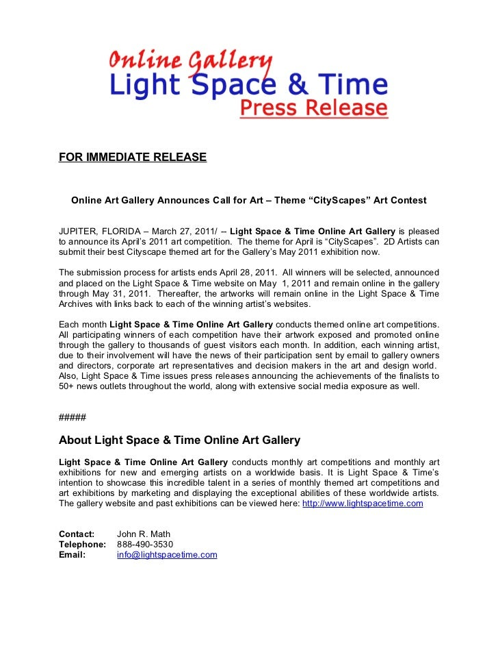"""FOR IMMEDIATE RELEASE   Online Art Gallery Announces Call for Art – Theme """"CityScapes"""" Art ContestJUPITER, FLORIDA – March..."""