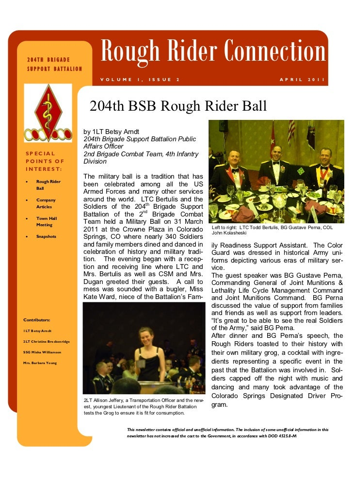 204TH BRIGADE  SUPPORT BATTALION                                     Rough Rider Connection                               ...
