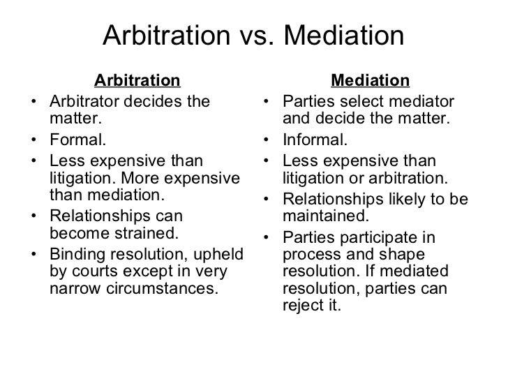 diazepam schedule mediation vs arbitration
