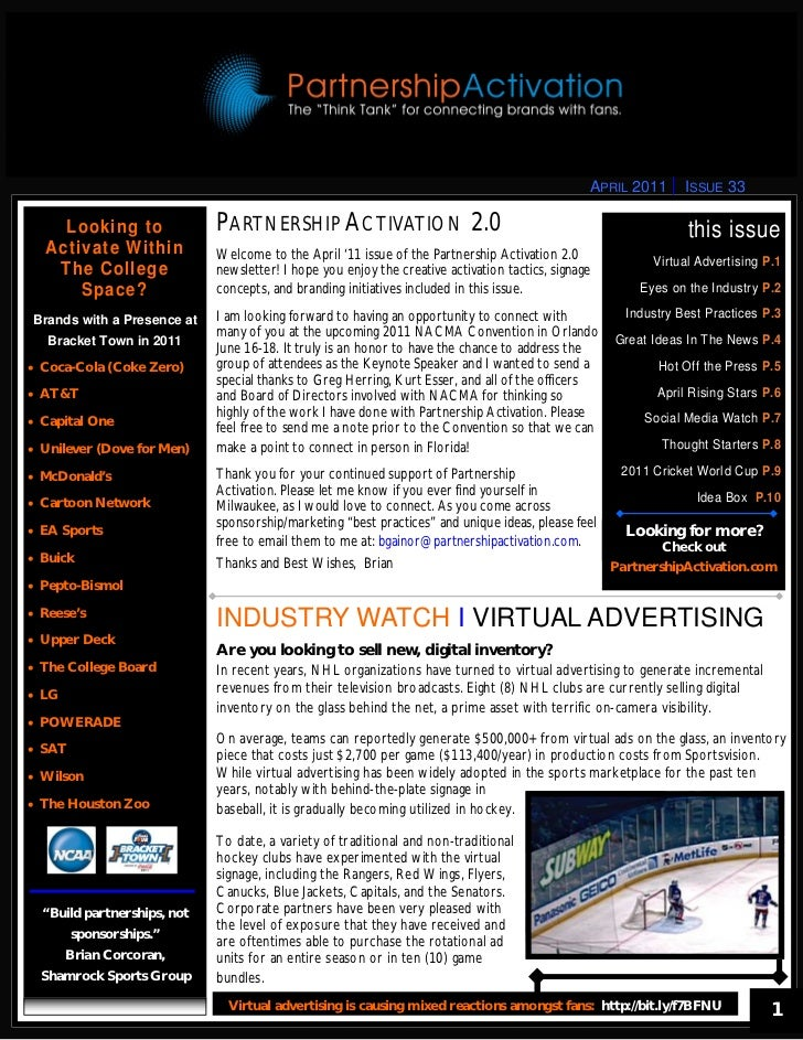 APRIL 2011      ISSUE 33     Looking to              PARTNERSHIP ACTIVATION 2.0                                           ...