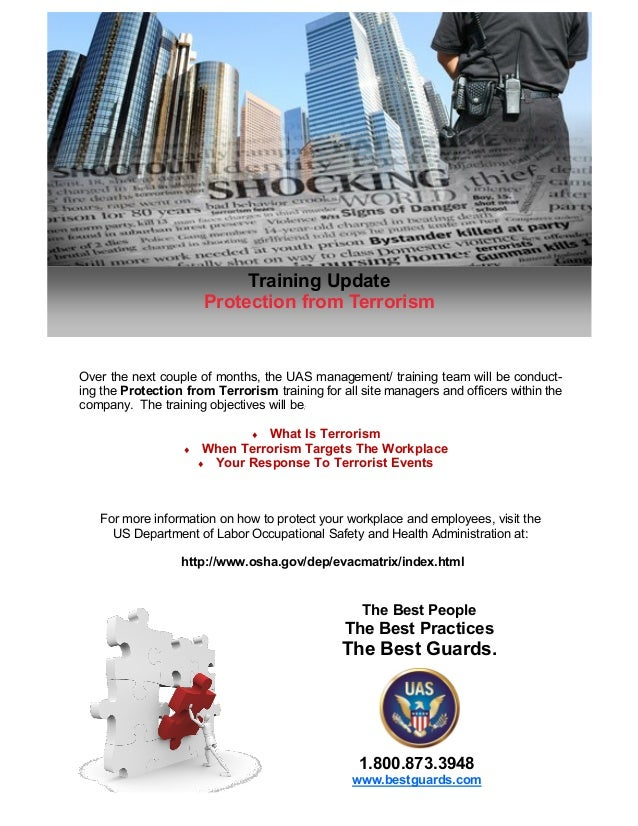 Training Update                       Protection from TerrorismOver the next couple of months, the UAS management/ trainin...