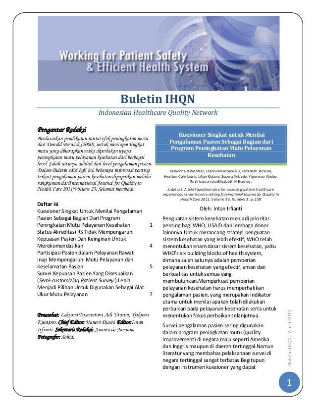 Buletin IHQN                              Indonesian Healthcare Quality NetworkPengantar Redaksi                          ...