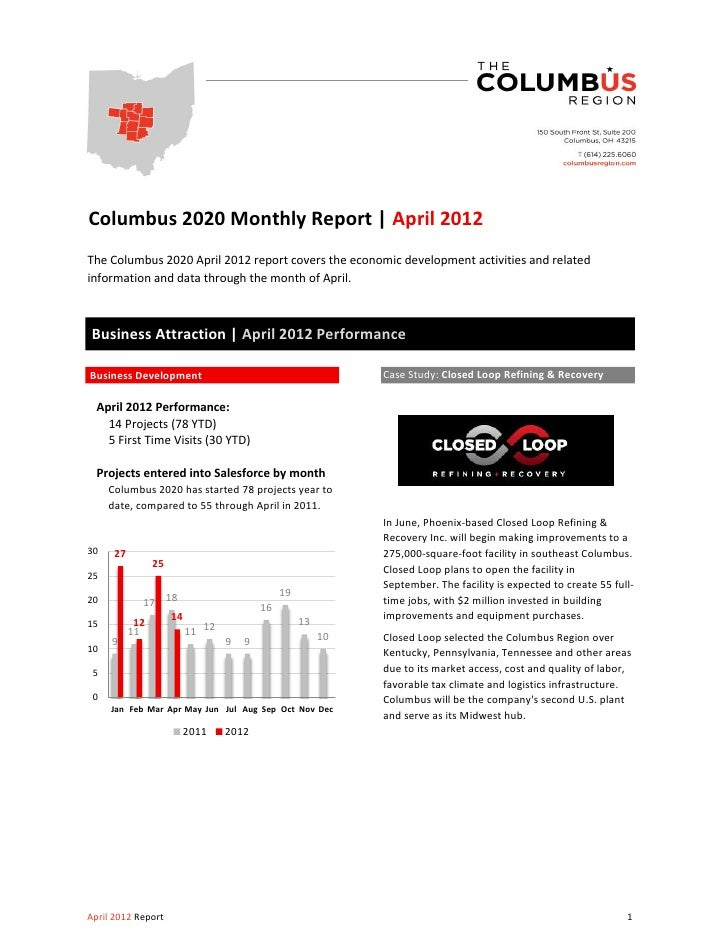 Columbus 2020 Monthly Report | April 2012The Columbus 2020 April 2012 report covers the economic development activities an...