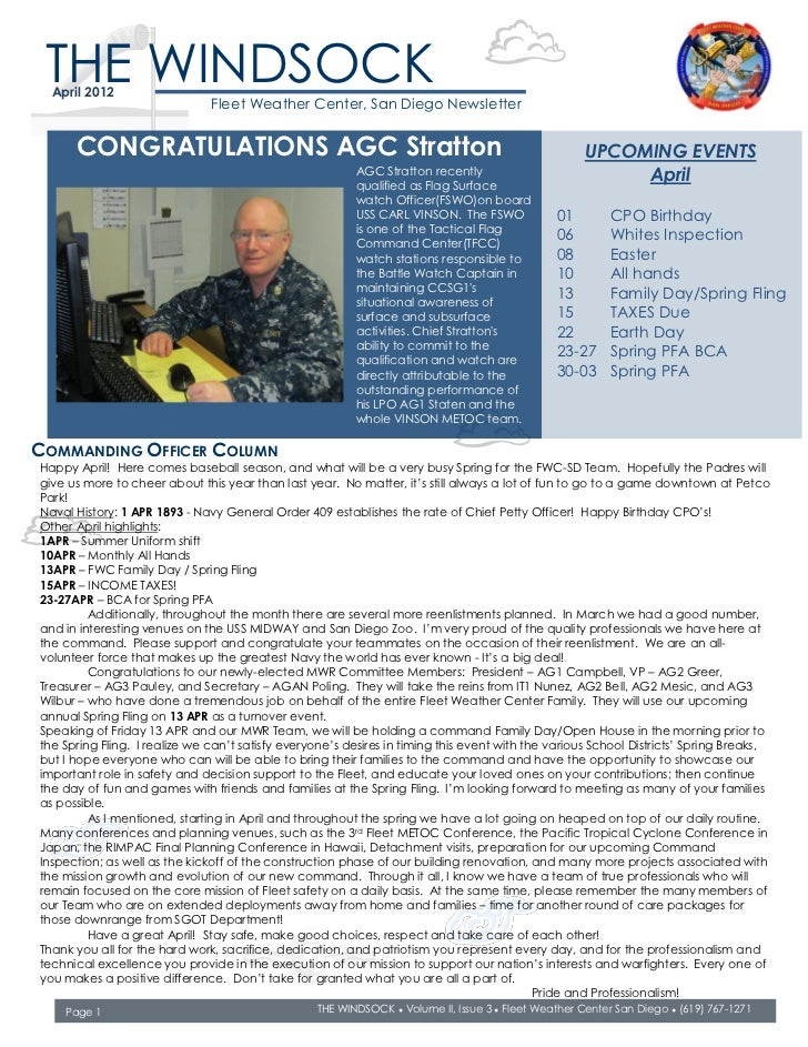 THE WINDSOCK  April 2012                               Fleet Weather Center, San Diego Newsletter      CONGRATULATIONS AGC...