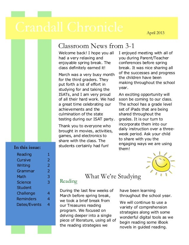 Crandall Chronicle                                                      April 2013                     Classroom News from...