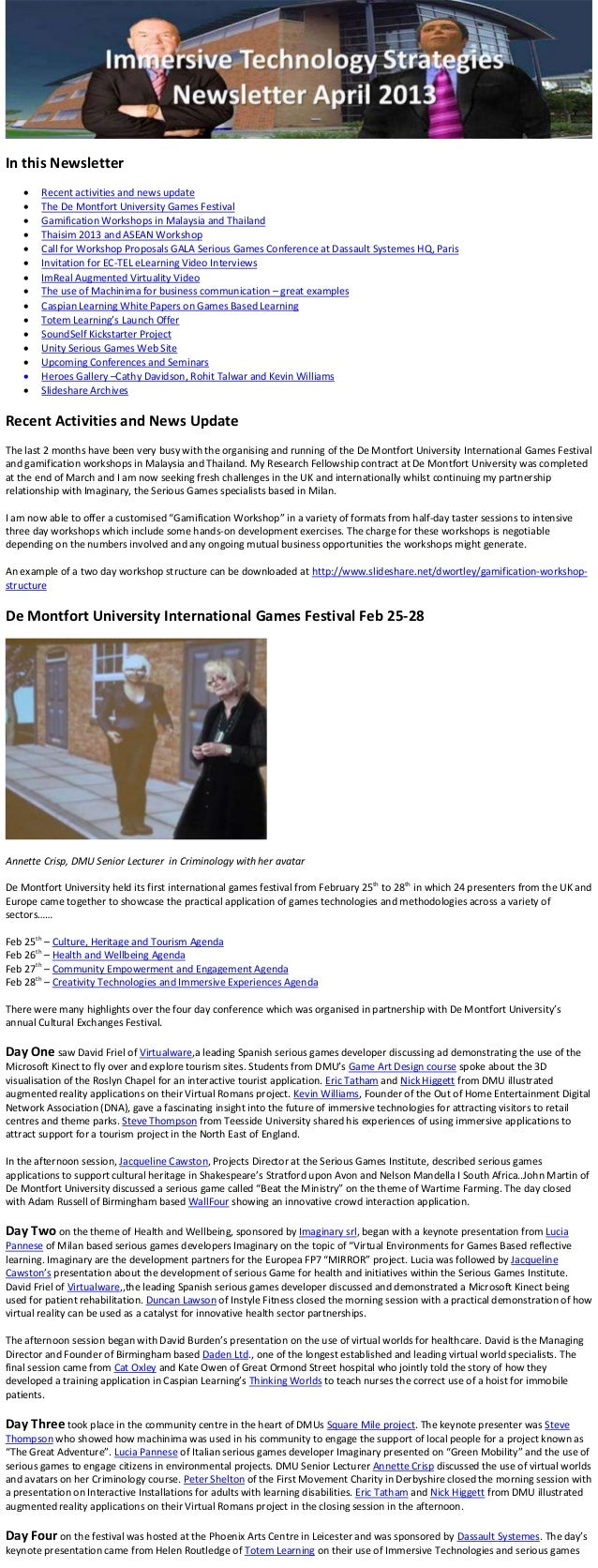 In this Newsletter       Recent activities and news update       The De Montfort University Games Festival       Gamifi...