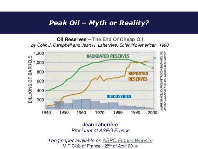 Peak Oil – Myth or Reality? Jean Laherrère President of ASPO France Long paper available on ASPO France Website MIT Club o...