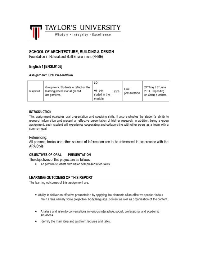 SCHOOL OF ARCHITECTURE, BUILDING & DESIGN Foundation in Natural and Built Environment (FNBE) English 1 [ENGL0105] Assignme...