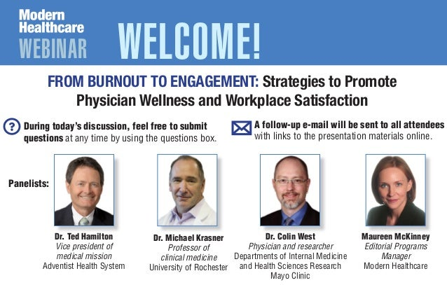 WEBINAR WELCOME! Dr. Colin West Physician and researcher Departments of Internal Medicine and Health Sciences Research May...