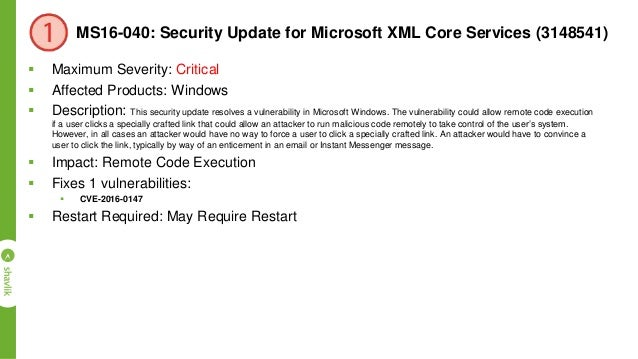 MS16-046: Security Update for Secondary Logon (3148538)  Maximum Severity: Important  Affected Products: Windows  Descr...