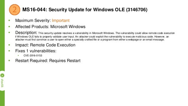 MS16-049: Security Update for HTTP.sys (3148795)  Maximum Severity: Important  Affected Products: Windows  Description:...