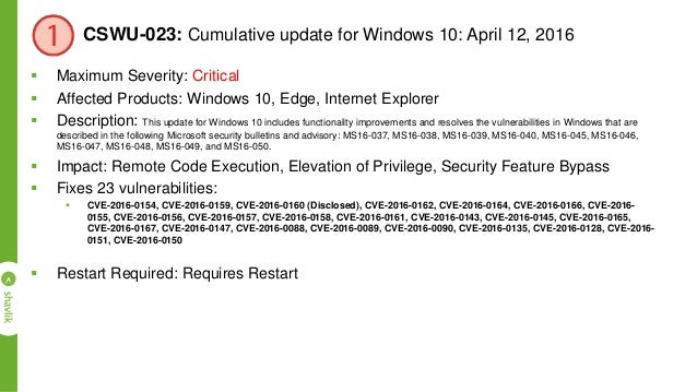 MS16-039: Security Update for Microsoft Graphics Component (3148522)  Maximum Severity: Critical  Affected Products: Win...