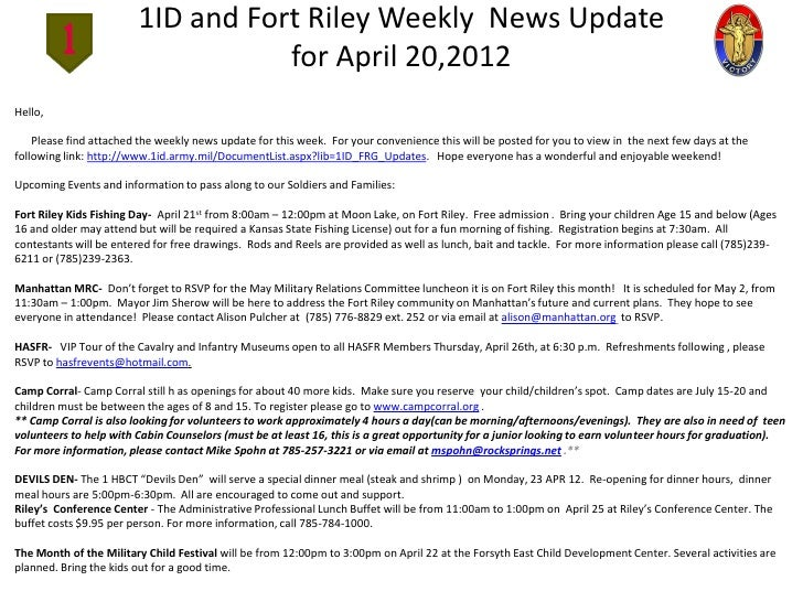 1ID and Fort Riley Weekly News Update                                   for April 20,2012Hello,    Please find attached th...