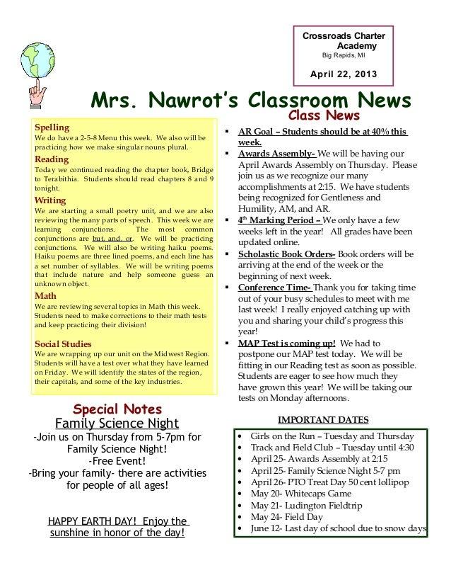 Mrs. Nawrot's Classroom NewsCrossroads CharterAcademyBig Rapids, MIApril 22, 2013• Girls on the Run – Tuesday and Thursday...