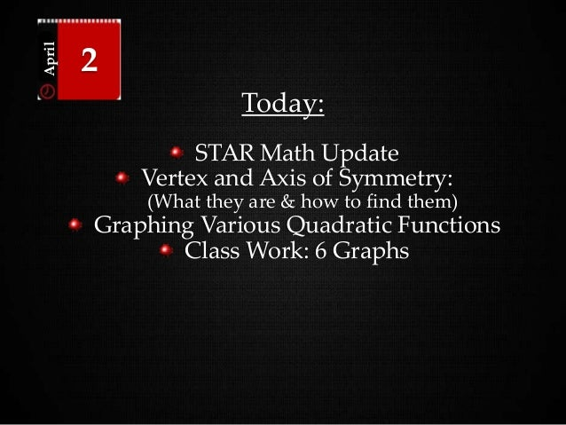 Today: STAR Math Update Vertex and Axis of Symmetry: (What they are & how to find them) Graphing Various Quadratic Functio...