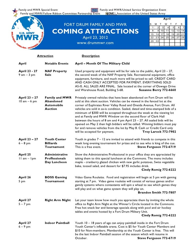 FMWR Coming Attractions April 23, 2012
