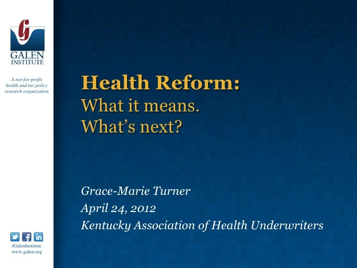 A not-for-profit health and tax policyresearch organization                         Health Reform:                        ...