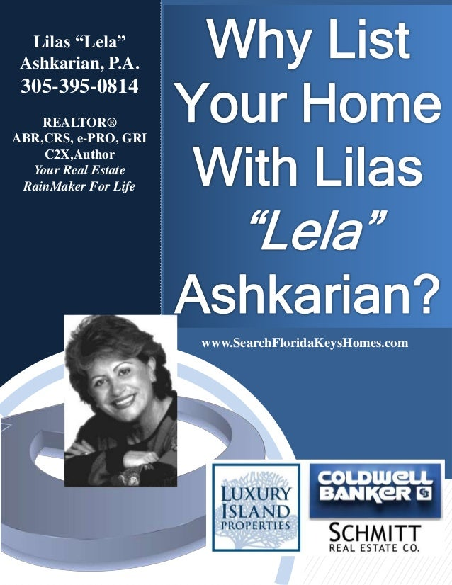 """Lilas """"Lela"""" Ashkarian, P.A. 305-395-0814 REALTOR® ABR,CRS, e-PRO, GRI C2X,Author Your Real Estate RainMaker For Life www...."""