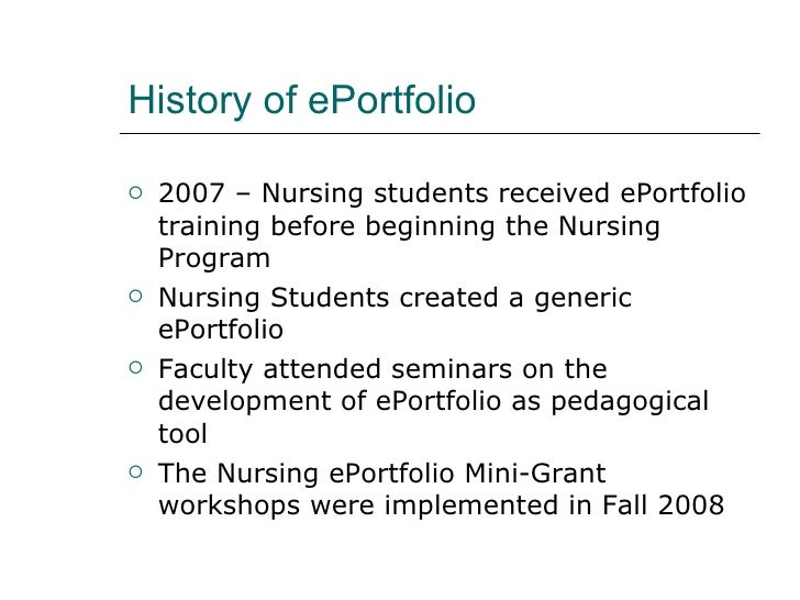 e portfolios and nursing student assessment In this seven-minute screencast, mark morton discusses the components of an excellent eportfolio, using a real student's eportfolio as an example category education show more show less.
