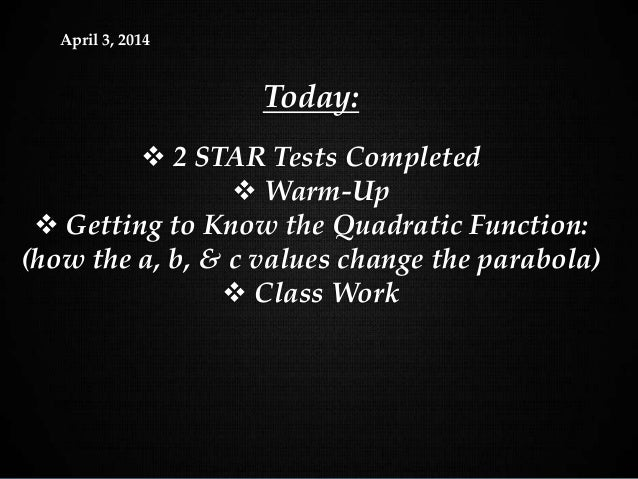 Holt Algebra 1 9-3 Graphing Quadratic FunctionsApril 3, 2014 Today:  2 STAR Tests Completed  Warm-Up  Getting to Know t...