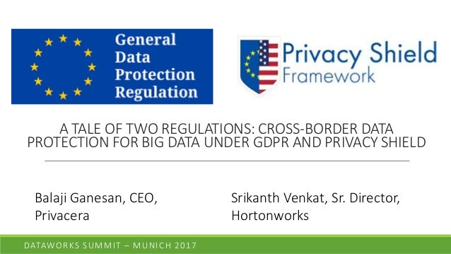 A TALE OF TWO REGULATIONS: CROSS-BORDER DATA PROTECTION FOR BIG DATA UNDER GDPR AND PRIVACY SHIELD DATAWORKS SUMMIT – MUNI...
