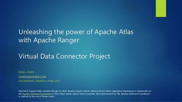 Unleashing the power of Apache Atlas with Apache Ranger Virtual Data Connector Project NIGEL JONES JONESN@UK.IBM.COM DATAW...