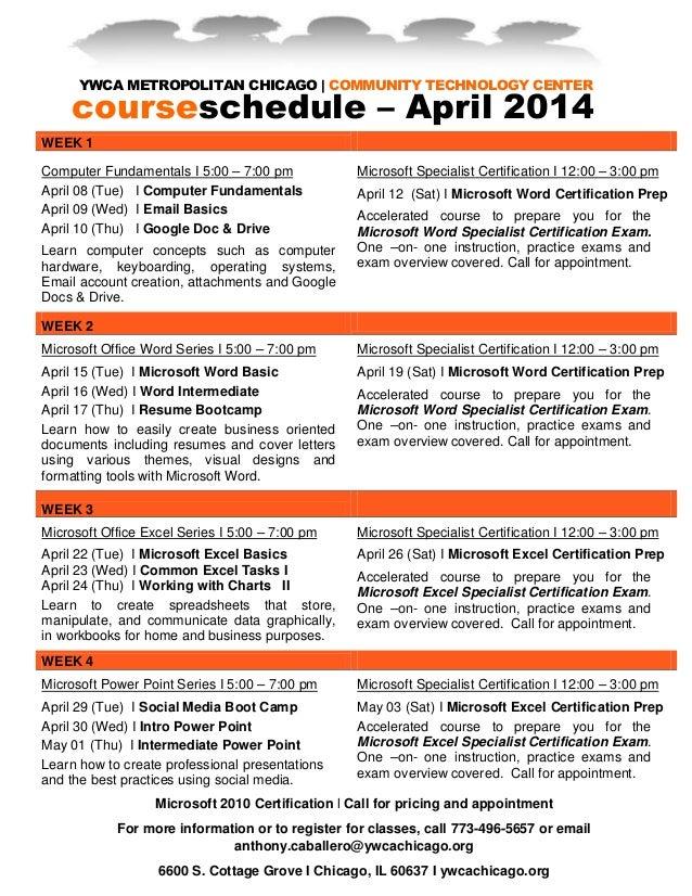 April Business Technology Courses