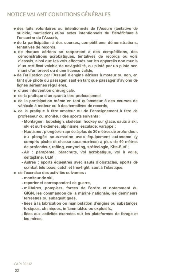 des faits volontaires ou intentionnels de l'Assuré (tentative de suicide, mutilation) et/ou actes intentionnels du Bénéfic...