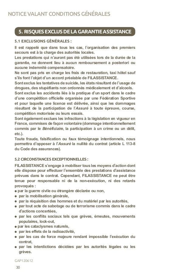 5.1 EXCLUSIONS GÉNÉRALES : Il est rappelé que dans tous les cas, l'organisation des premiers secours est à la charge des a...