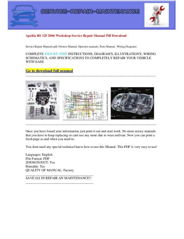 Aprilia Rs 125 2006 Electrical Wiring Diagram Pdf Download