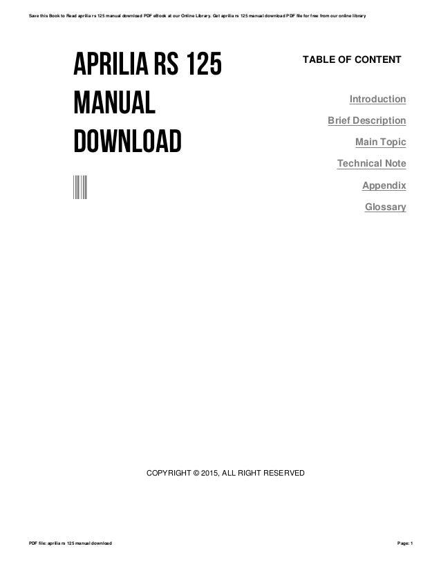 Aprilia rs 125 manual download