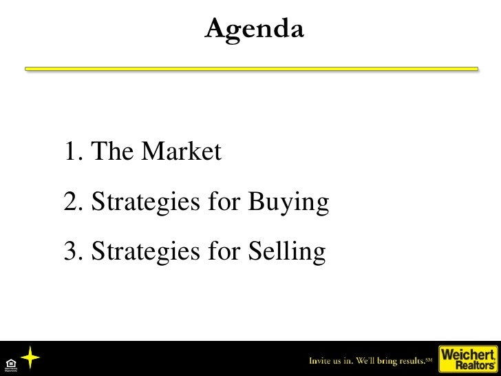 Agenda    1. The Market 2. Strategies for Buying 3. Strategies for Selling