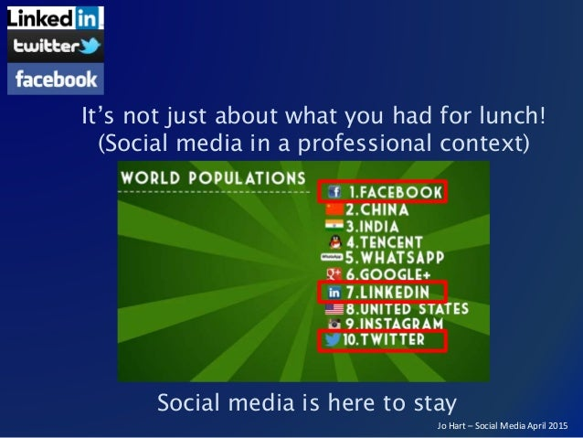 Jo Hart – Social Media April 2015 Social media is here to stay It's not just about what you had for lunch! (Social media i...