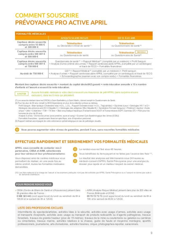 9 LISTE DES PROFESSIONS EXCLUES Intermittents du spectacle/artistes, activités liées à la sécurité, activités avec usage d...