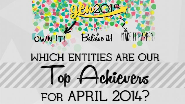 WHICH ENTITIES ARE OUR! Top Achievers! ! ! ! !FOR APRIL 2014?