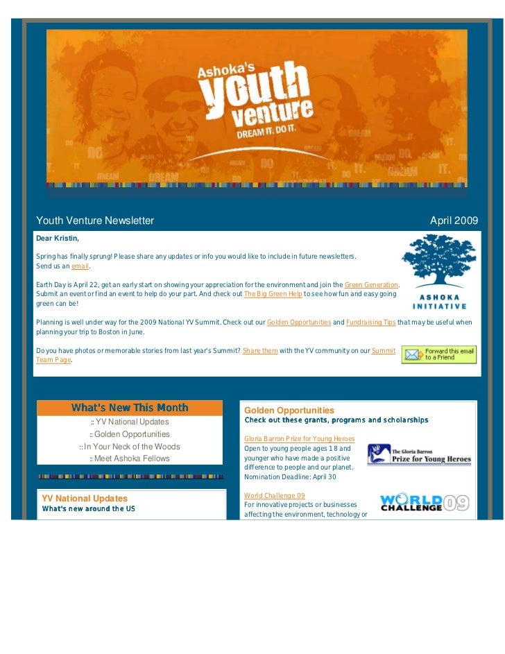 Youth Venture Newsletter                                                                                                  ...