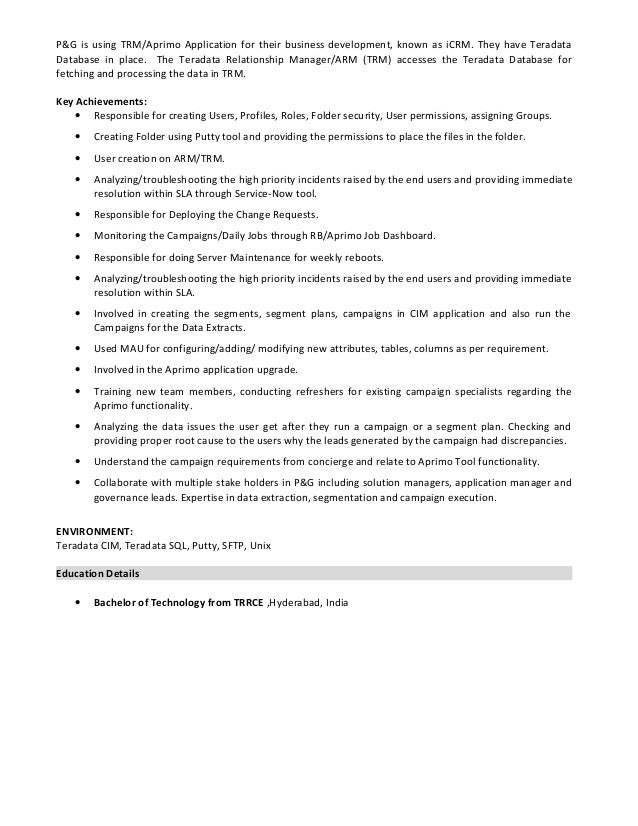 best teradata resume sample images simple resume office