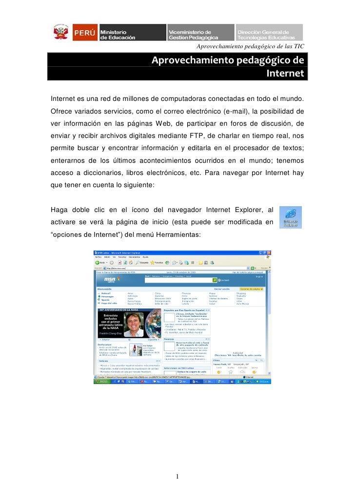 Aprovechamiento pedagógico de las TIC                                Aprovechamiento pedagógico de                        ...