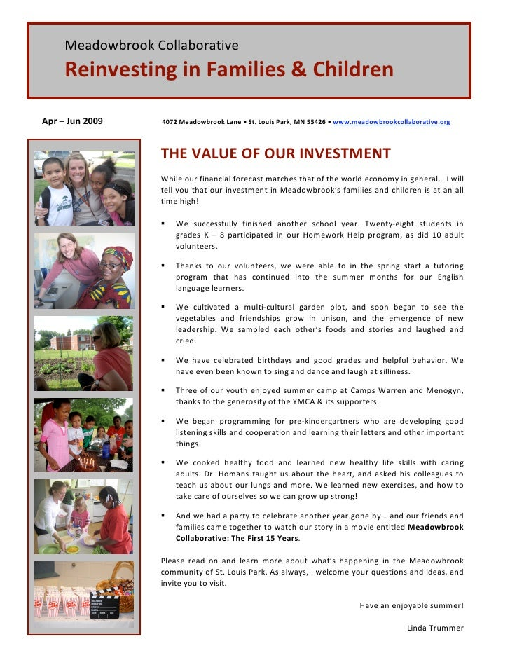 Meadowbrook Collaborative       Reinvesting in Families & Children   Apr – Jun 2009         4072 Meadowbrook Lane • St. Lo...