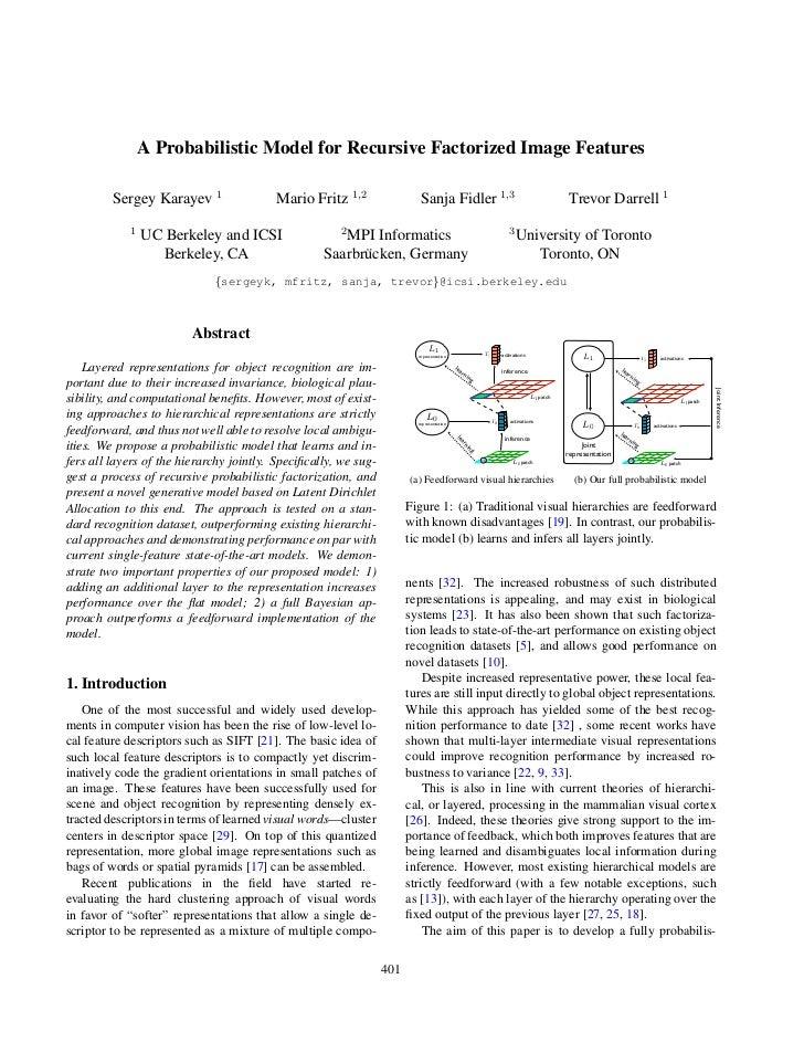 A Probabilistic Model for Recursive Factorized Image Features         Sergey Karayev 1                 Mario Fritz 1,2    ...
