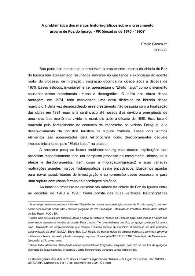 Texto integrante dos Anais do XVII Encontro Regional de História – O lugar da História. ANPUH/SP- UNICAMP. Campinas, 6 a 1...