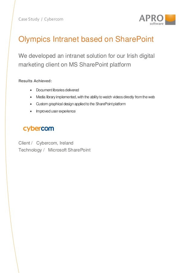 Case Study / Cybercom Olympics Intranet based on SharePoint We developed an intranet solution for our Irish digital market...