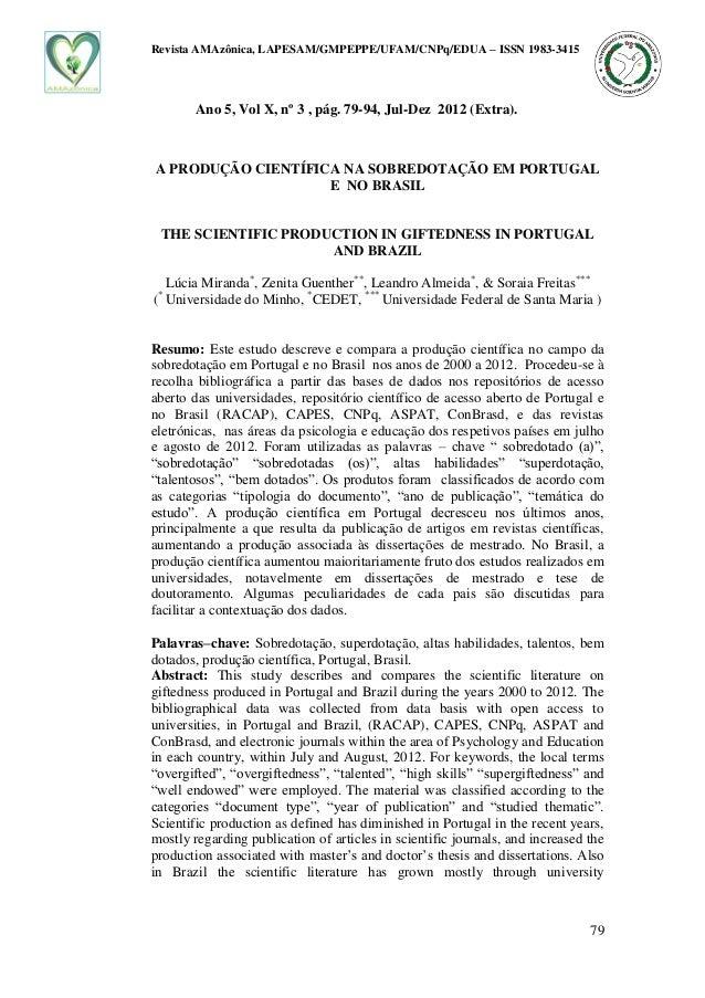 Revista AMAzônica, LAPESAM/GMPEPPE/UFAM/CNPq/EDUA – ISSN 1983-3415 79 Ano 5, Vol X, nº 3 , pág. 79-94, Jul-Dez 2012 (Extra...