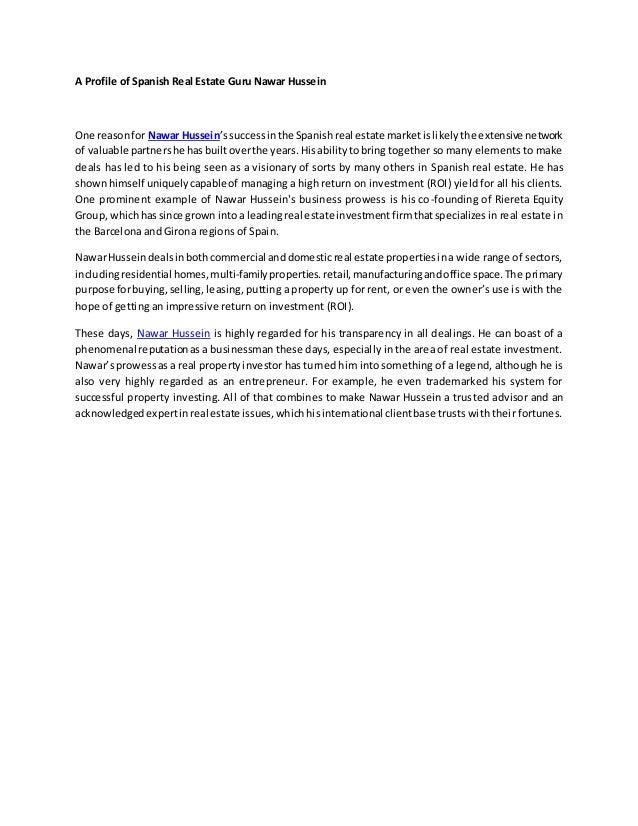 A Profile of Spanish Real Estate Guru Nawar Hussein One reasonfor Nawar Hussein'ssuccessinthe Spanishreal estate marketisl...
