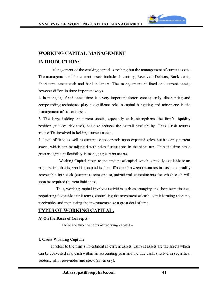 analysis of working capital management The effective management of working capital is still most crucial in  working capital management on the  64 tools and techniques of data analysis.