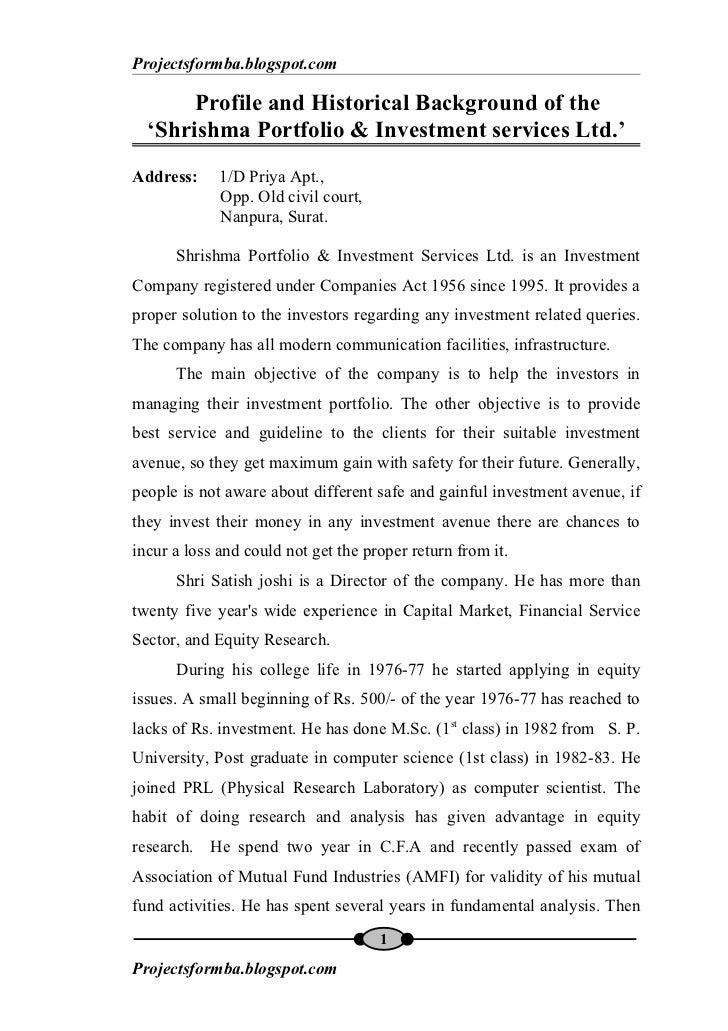 Projectsformba.blogspot.com         Profile and Historical Background of the    'Shrishma Portfolio & Investment services ...