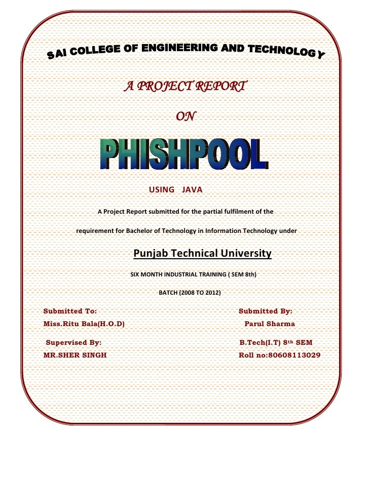 ptu m tech thesis report format